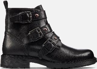 Clarks Women's Orinoco 2 Stud Leather Biker Boots - Black - UK 3