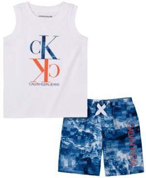 Calvin Klein Little Boys 2-Piece Logo Muscle Tank and Tie-Dyed Microfiber Short Set