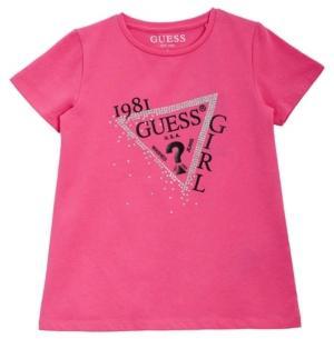 Guess Little Girls Glitter Print Logo Short Sleeve T-shirt
