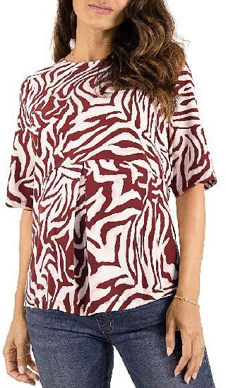 Ingrid & Isabel Zebra Print Zip Back Maternity Top