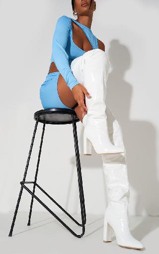 PrettyLittleThing White Thigh High Point Block Heel Boots