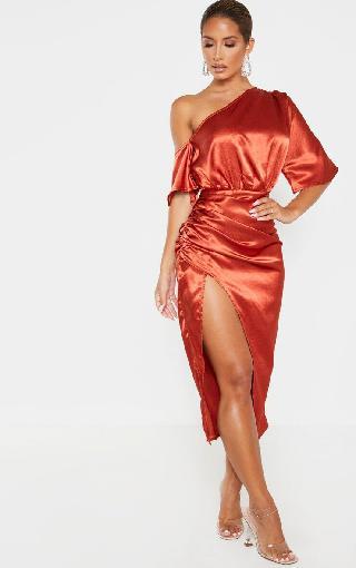 PrettyLittleThing Rust Satin One Shoulder Ruched Skirt Midi Dress