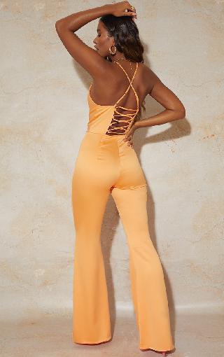 PrettyLittleThing Bright Orange Satin Lace Up Cowl Neck Jumpsuit