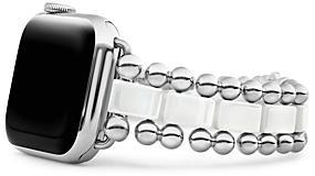 Lagos Smart Caviar White Ceramic Apple Watch Bracelet, 38-44mm