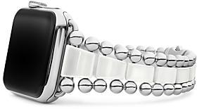 Lagos Smart Caviar White Ceramic Apple Watch Bracelet, 42-44mm