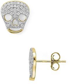 Aqua Sterling Silver Skull Stud Earrings - 100% Exclusive
