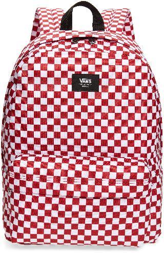 Vans Boy's Old Skool Checkerboard Canvas Backpack - Red
