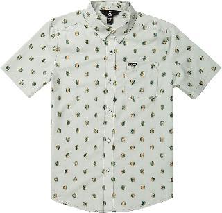 Volcom Boy's Macro Dot Short Sleeve Button-Up Shirt, Size XL - Grey