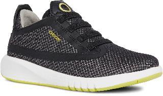 Geox Boy's Aeranter 2 Sneaker, Size 3.5US - Black