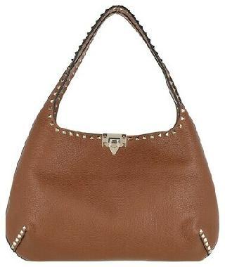 Valentino Garavani Hobo Bags - Rockstud Hobo Bag Leather Selleria - brown - Hobo Bags for ladies