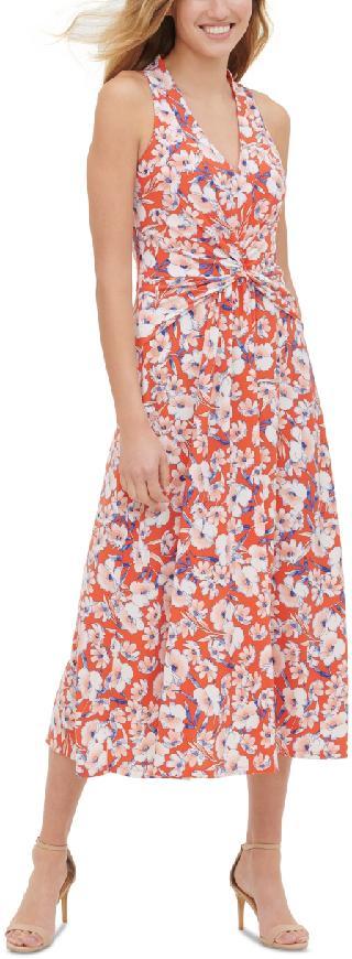 Tommy Hilfiger Floral-Print Twist-Detail Midi Dress