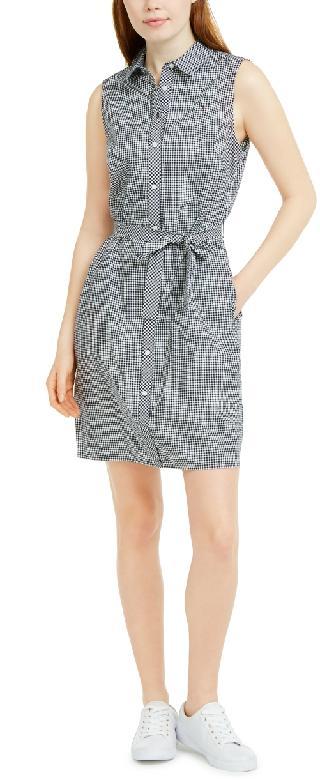 Tommy Hilfiger Sleeveless Cotton Gingham Shirtdress