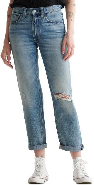 Lucky Brand Cotton Ripped Cuffed Boyfriend Jeans