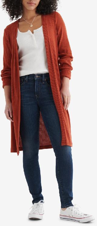 Lucky Brand Women's Cloud Jersey Long-Line Open-Front Cardigan
