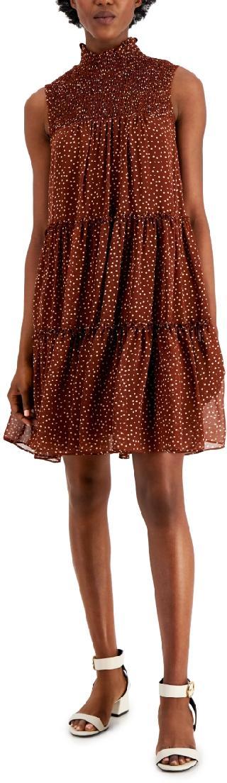 Taylor Smocked Polka-Dot Chiffon Tiered Dress
