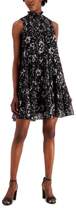 Taylor Smocked Printed Chiffon Tiered Dress