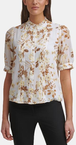 Calvin Klein Floral-Print Ruffled Blouse