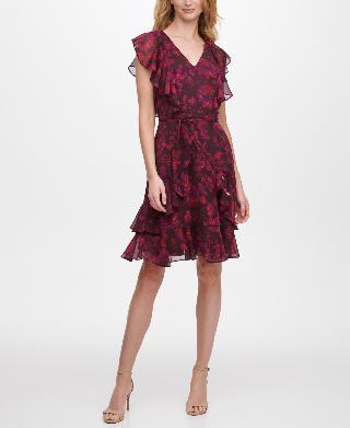 Tommy Hilfiger Rose-Print Flutter-Sleeve Dress