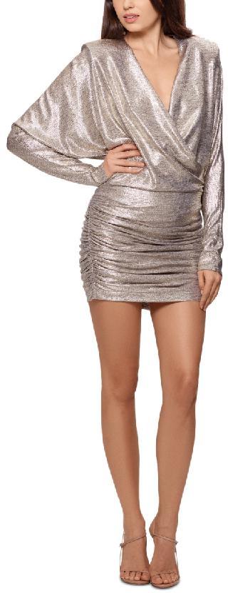 Betsy & Adam Metallic Ruched Bodycon Dress