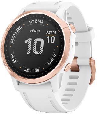 Garmin Unisex Fenix 6S Pro White Silicone Strap Smart Watch 30.4mm