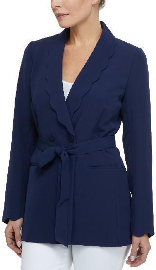 Laundry By Shelli Segal Women's Scallop Button Long Sleeve Blazer