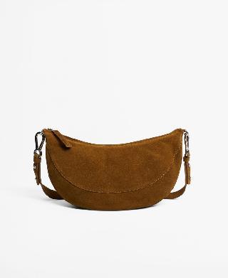 Mango Women's Leather Half-Moon Crossbody Bag
