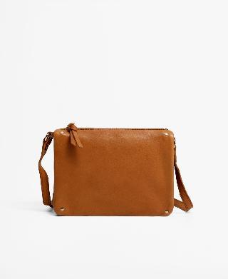 Mango Women's Flap Leather Crossbody Bag