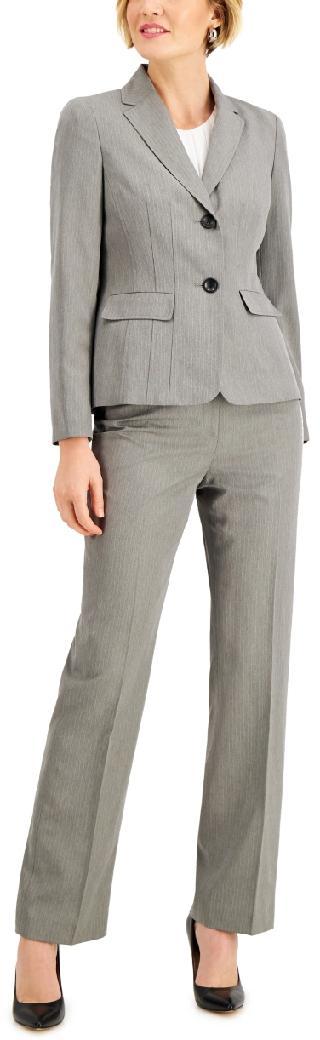 Le Suit Herringbone Notch-Lapel Pantsuit