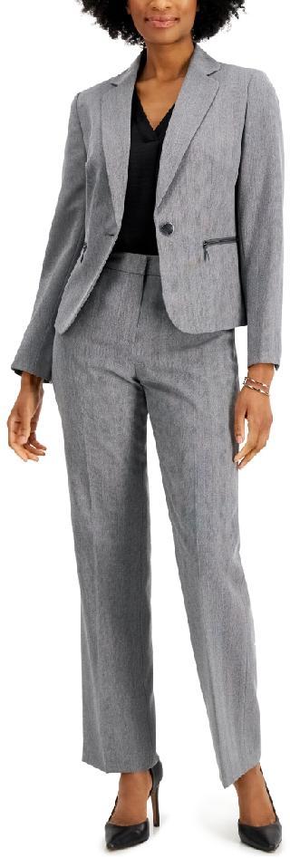 Le Suit Zippered-Pocket Pantsuit