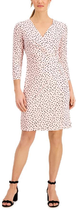 Anne Klein Leaf-Printed Wrap Dress