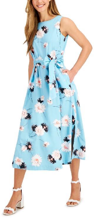 Anne Klein Printed Tie-Sash Midi Dress
