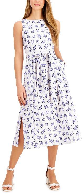 Anne Klein Ivy-Printed Tie-Sash Midi Dress